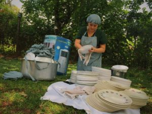 washing dishes for a wedding