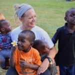 Katie with Ugandan children