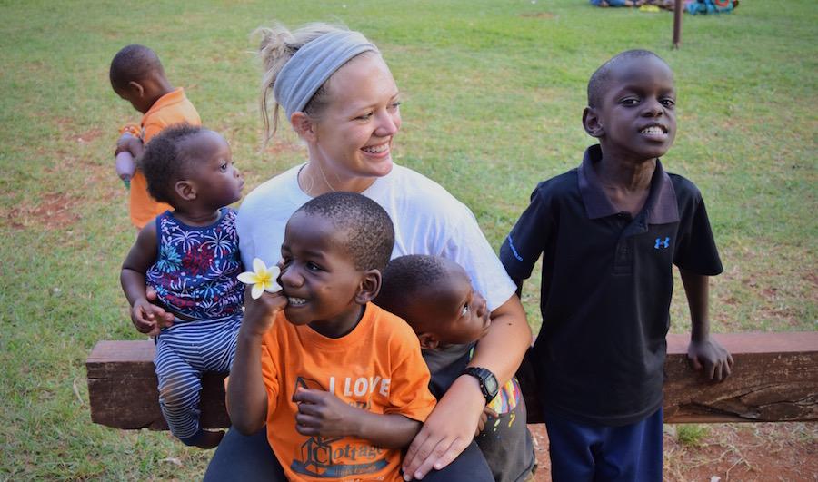 Katie with Ugandan children
